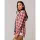 VANILLA STAR Hooded Berry Womens Flannel Shirt