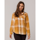 VANILLA STAR Hooded Mustard Womens Flannel Shirt