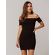 HEART & HIPS Ribbed Off The Shoulder Bodycon Dress