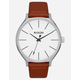NIXON Clique Leather Brown & Silver Watch