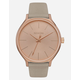 NIXON Clique Leather Gray & Rose Gold Watch