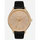 NIXON Clique Leather Black & Gold Watch