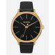 NIXON Clique Leather Black & Gold Watch
