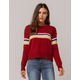 SKY AND SPARROW Chest Stripe Red Womens Sweater