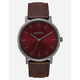 NIXON Porter Leather Gunmetal & Burgundy Watch