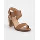 SODA Velcro Strap Cognac Womens Heeled Sandals