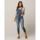SKY AND SPARROW Skinny Button Front Womens Ripped Overalls