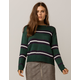 SKY AND SPARROW Stripe Green Womens Sweater