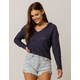 SKY AND SPARROW Crop Navy Womens Hooded Sweater