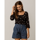 IVY & MAIN Daisy Smocked Womens Crop Top