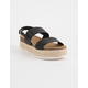 SODA 2 Strap Black Womens Espadrille Flatform Sandals