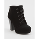 SODA Lace Up Black Womens Heeled Booties