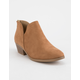 SODA Chop Out Low Tan Womens Booties