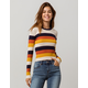 SKY AND SPARROW Ribbed Stripe Navy Womens Sweater