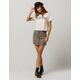 SKY AND SPARROW Plaid Zip Front Mini Skirt
