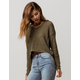 SKY AND SPARROW Crop Olive Womens Hooded Sweater