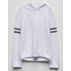 DESTINED Varsity Stripe White Girls Hoodie