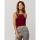 IVY & MAIN Smocked Burgundy Womens Halter Top