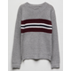 WOVEN HEART Chest Stripe Grey Girls Sweater