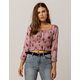 IVY & MAIN Floral Smocked Womens Crop Top