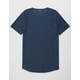 ELWOOD Curved Hem Slub Navy Mens Tall Tee