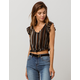 PATRONS OF PEACE Stripe Ruffle Womens Crop Top