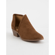 SODA Perforated Side Cutout Cognac Womens Booties