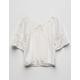 WHITE FAWN Ruffle Crochet Girls Peasant Top