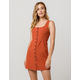 CHLOE & KATIE Twill Button Front Rust Structured Dress
