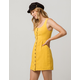 CHLOE & KATIE Twill Button Front Mustard Structured Dress