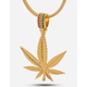 KING ICE 14K Gold Weed Leaf Necklace