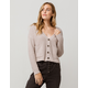 IVY & MAIN Button Crop Tan Womens Cardigan