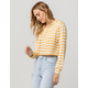 SKY AND SPARROW Stripe Mustard Womens Lightweight Hoodie