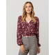 IVY & MAIN Floral Surplice Womens Top