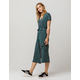 POLLY & ESTHER Stripe Navy & Green Surplice Womens Jumpsuit