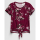 WHITE FAWN Floral Tie Front Burgandy Girls Tee