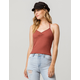 SKY AND SPARROW Ribbed Cinch Front Womens Halter Top