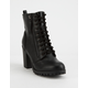 SODA Malia Black Womens Heeled Combat Boots