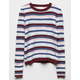 WHITE FAWN Ribbed Stripe White Girls Sweater