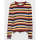 WHITE FAWN Ribbed Stripe Multicolored Girls Sweater