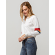 FULL TILT Varsity Stripe White Womens Half Zip Top