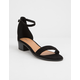 QUPID Suede Ankle Strap Black Womens Heeled Sandals