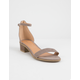 QUPID Suede Ankle Strap Taupe Womens Heeled Sandals
