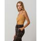 BOZZOLO Ribbed Twist Front Mustard Womens Crop Tank Top