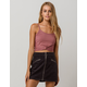 BOZZOLO Ribbed Twist Front Mauve Womens Crop Tank Top