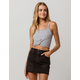 BOZZOLO Ribbed Twist Front Grey Womens Crop Tank Top