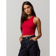 BOZZOLO High Neck Racerback Red Womens Crop Tank Top