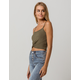 BOZZOLO Ribbed Twist Front Olive Womens Crop Tank Top