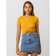 HEART & HIPS Twist Front Mustard Womens Crop Tee