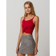 BOZZOLO Ribbed Twist Front Red Womens Crop Tank Top